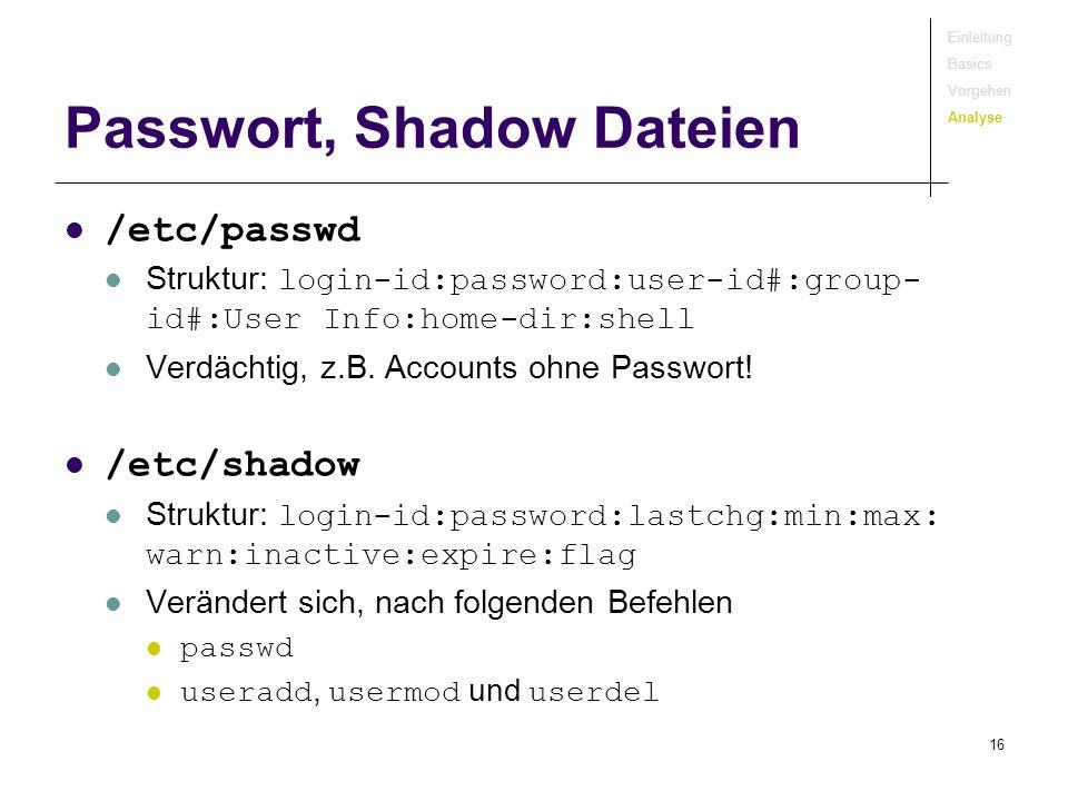 Passwort, Shadow Dateien