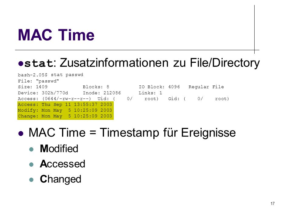MAC Time stat: Zusatzinformationen zu File/Directory