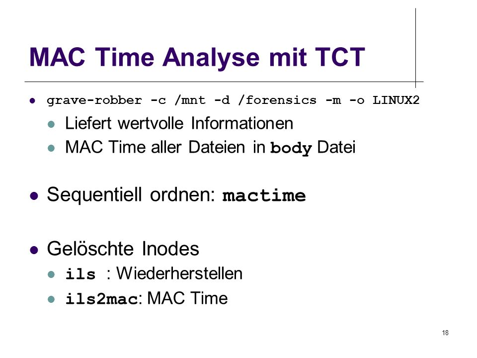 MAC Time Analyse mit TCT