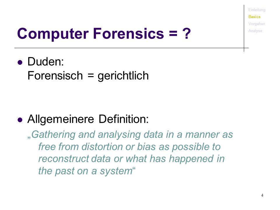 Computer Forensics = Duden: Forensisch = gerichtlich