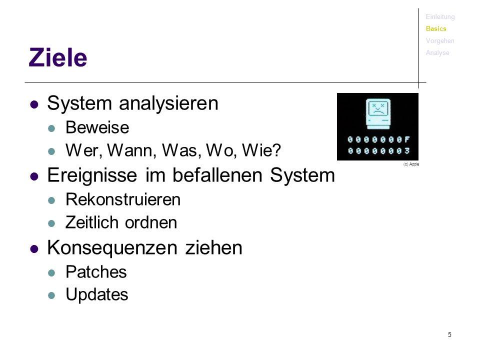 Ziele System analysieren Ereignisse im befallenen System