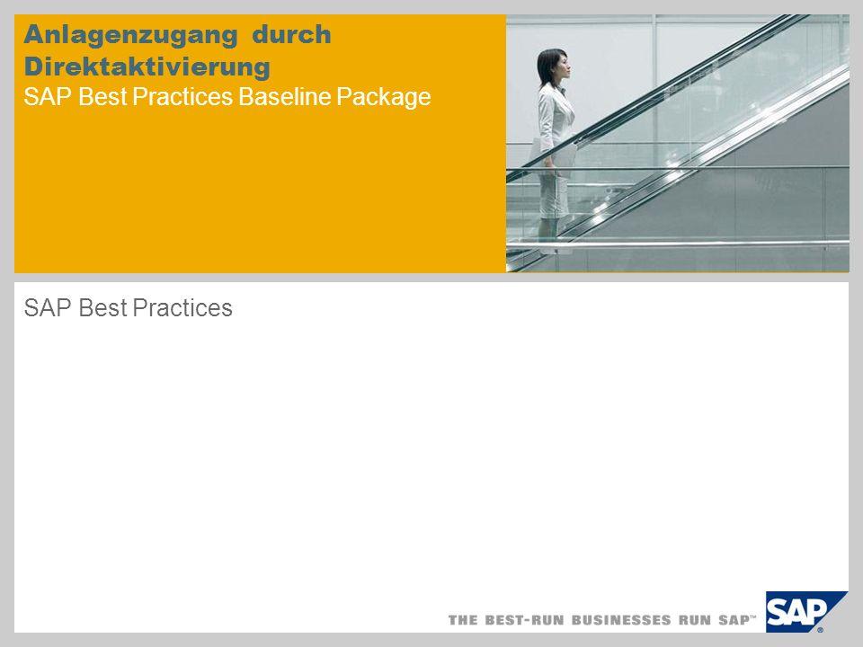 Anlagenzugang durch Direktaktivierung SAP Best Practices Baseline Package