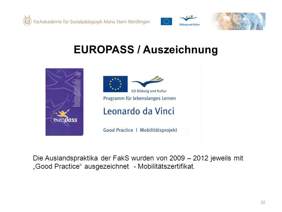 EUROPASS / Auszeichnung