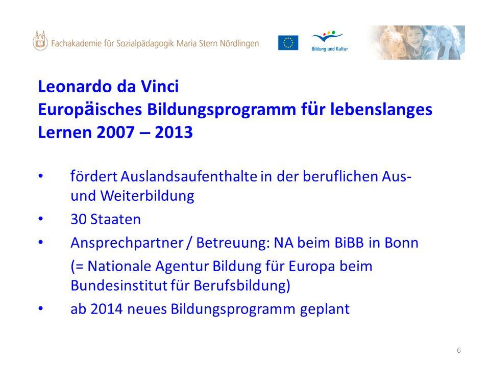 Europäisches Bildungsprogramm für lebenslanges Lernen 2007 – 2013