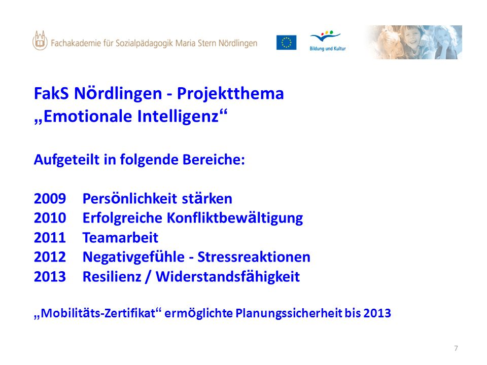 "FakS Nördlingen - Projektthema ""Emotionale Intelligenz"