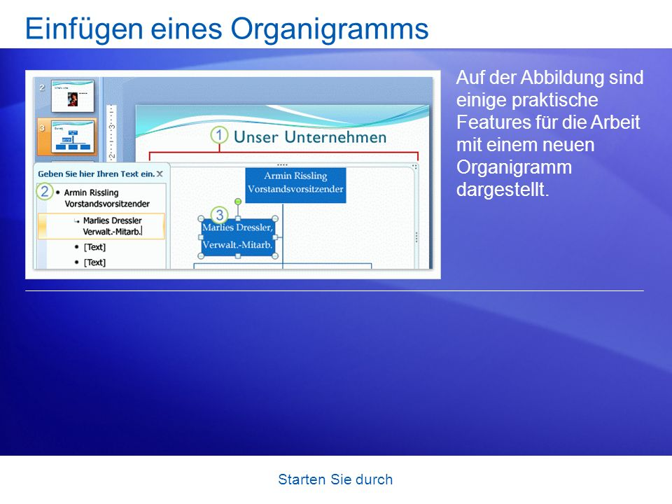 Einfügen eines Organigramms