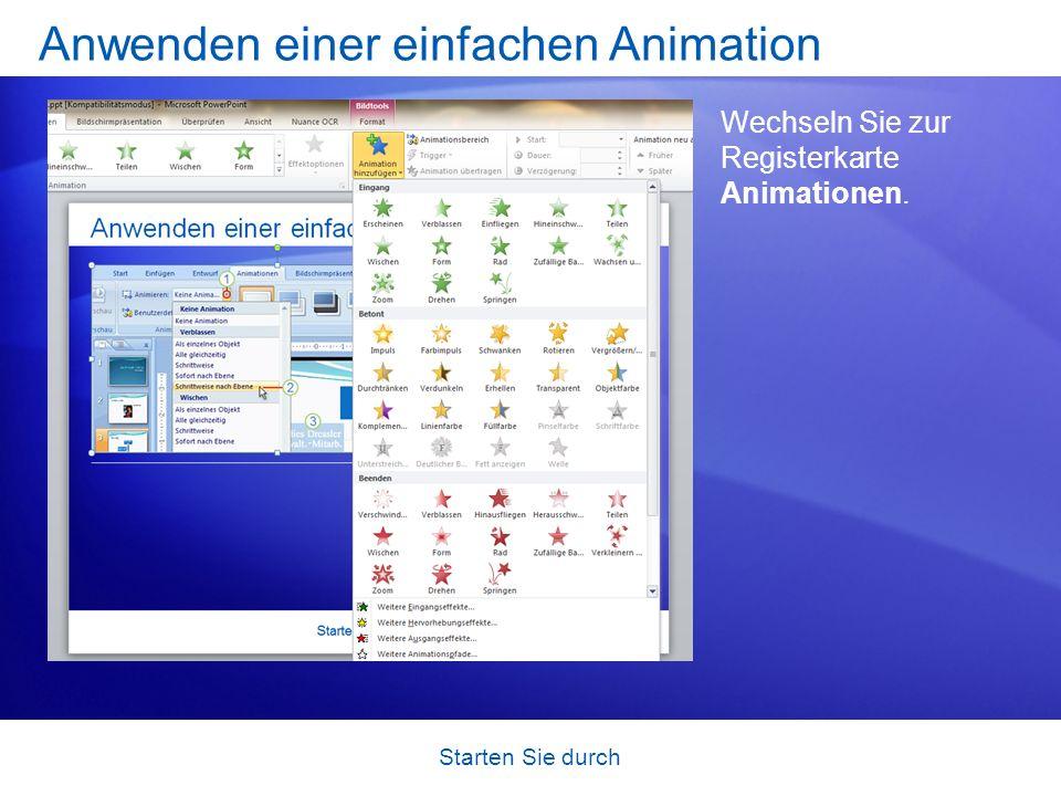Anwenden einer einfachen Animation