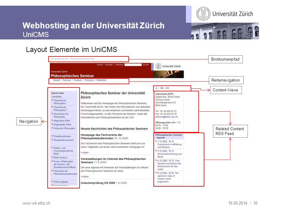 Webhosting an der Universität Zürich UniCMS
