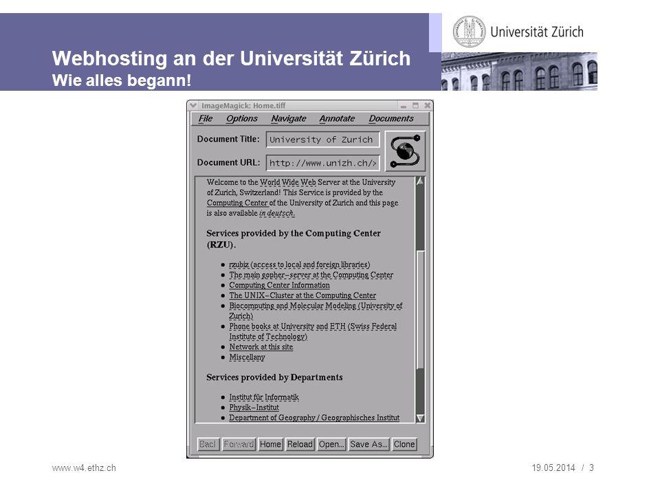 Webhosting an der Universität Zürich Wie alles begann!