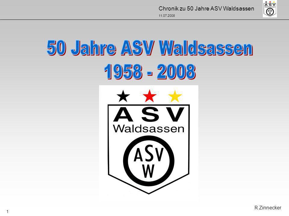 50 Jahre ASV Waldsassen 1958 - 2008 R.Zinnecker