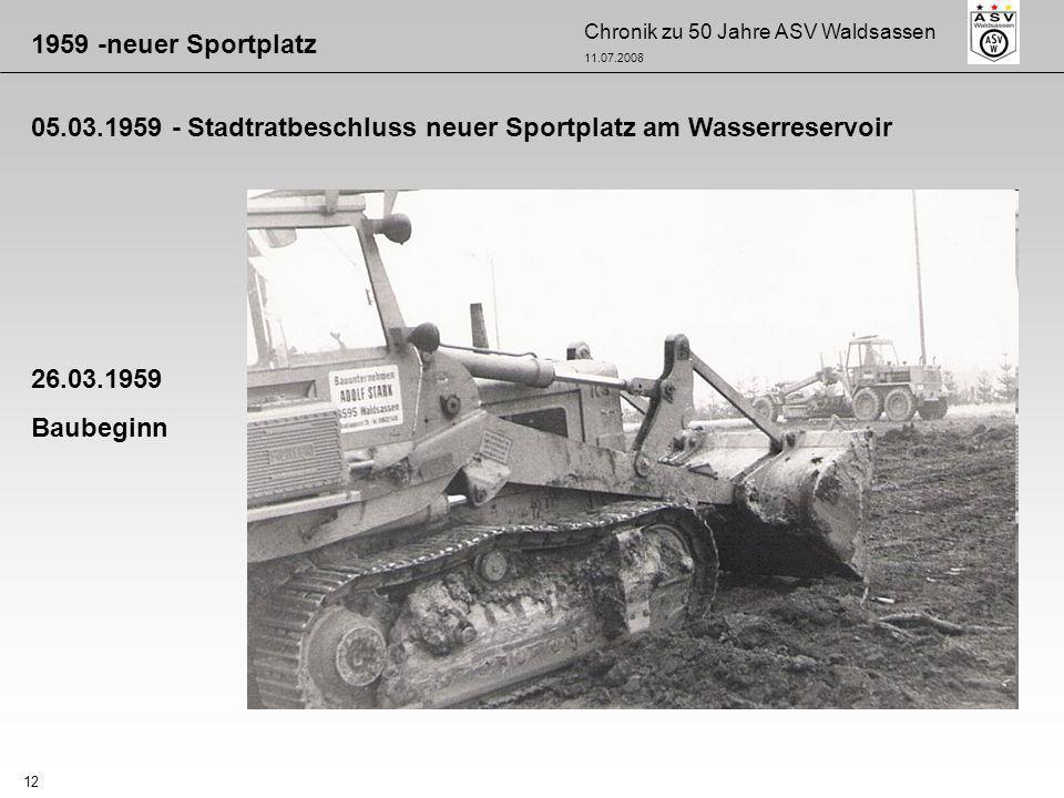 1959 -neuer Sportplatz 05.03.1959 - Stadtratbeschluss neuer Sportplatz am Wasserreservoir. 26.03.1959.