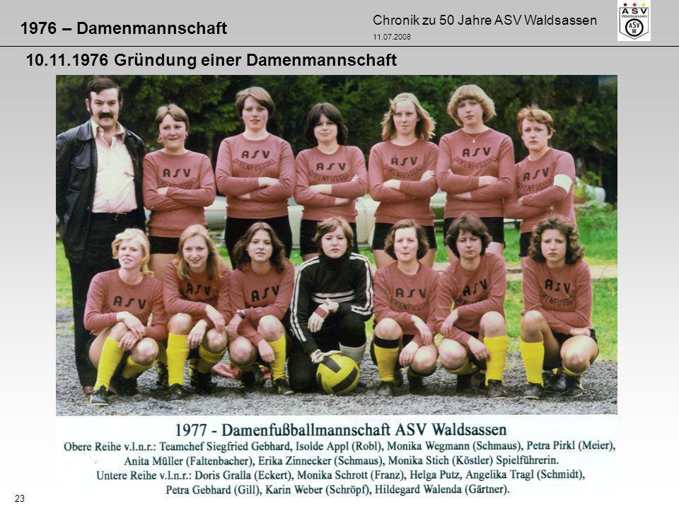 1976 – Damenmannschaft 10.11.1976 Gründung einer Damenmannschaft