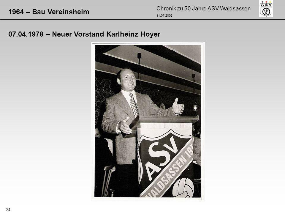 1964 – Bau Vereinsheim 07.04.1978 – Neuer Vorstand Karlheinz Hoyer