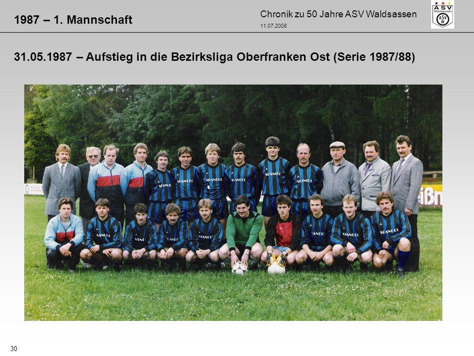 1987 – 1. Mannschaft 31.05.1987 – Aufstieg in die Bezirksliga Oberfranken Ost (Serie 1987/88)
