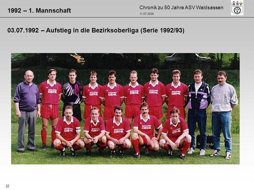 1992 – 1. Mannschaft 03.07.1992 – Aufstieg in die Bezirksoberliga (Serie 1992/93)