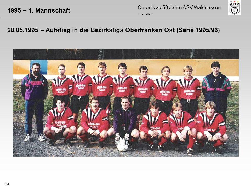 1995 – 1. Mannschaft 28.05.1995 – Aufstieg in die Bezirksliga Oberfranken Ost (Serie 1995/96)