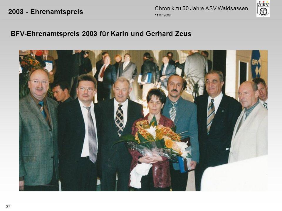 2003 - Ehrenamtspreis BFV-Ehrenamtspreis 2003 für Karin und Gerhard Zeus