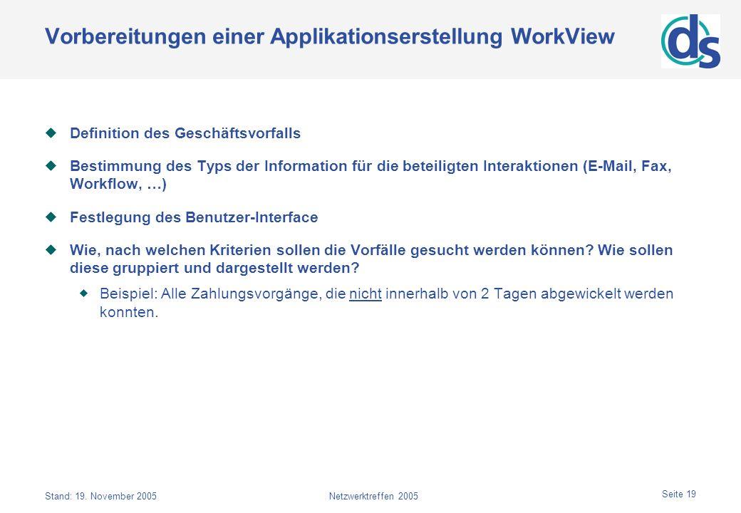 Vorbereitungen einer Applikationserstellung WorkView