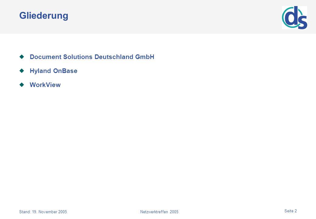 Gliederung Document Solutions Deutschland GmbH Hyland OnBase WorkView