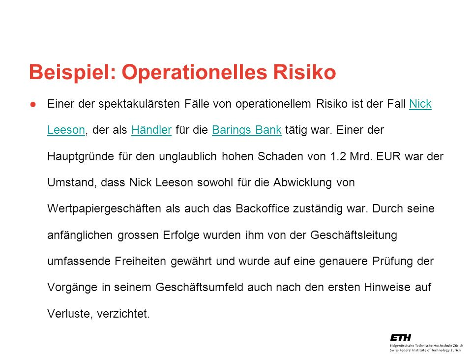 Beispiel: Operationelles Risiko