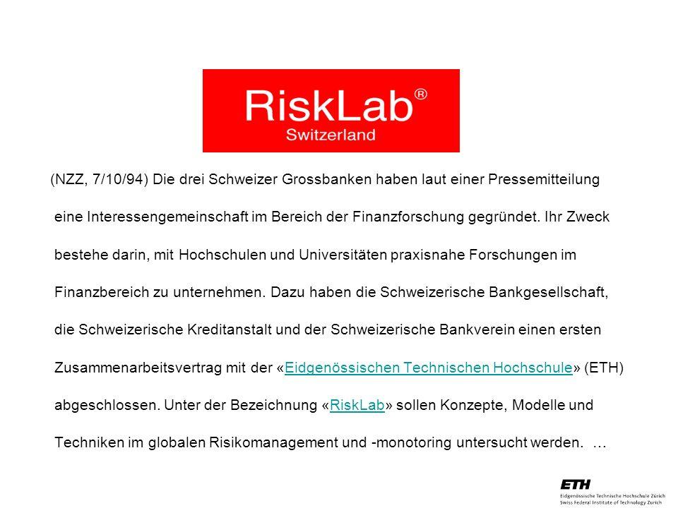 (NZZ, 7/10/94) Die drei Schweizer Grossbanken haben laut einer Pressemitteilung eine Interessengemeinschaft im Bereich der Finanzforschung gegründet.