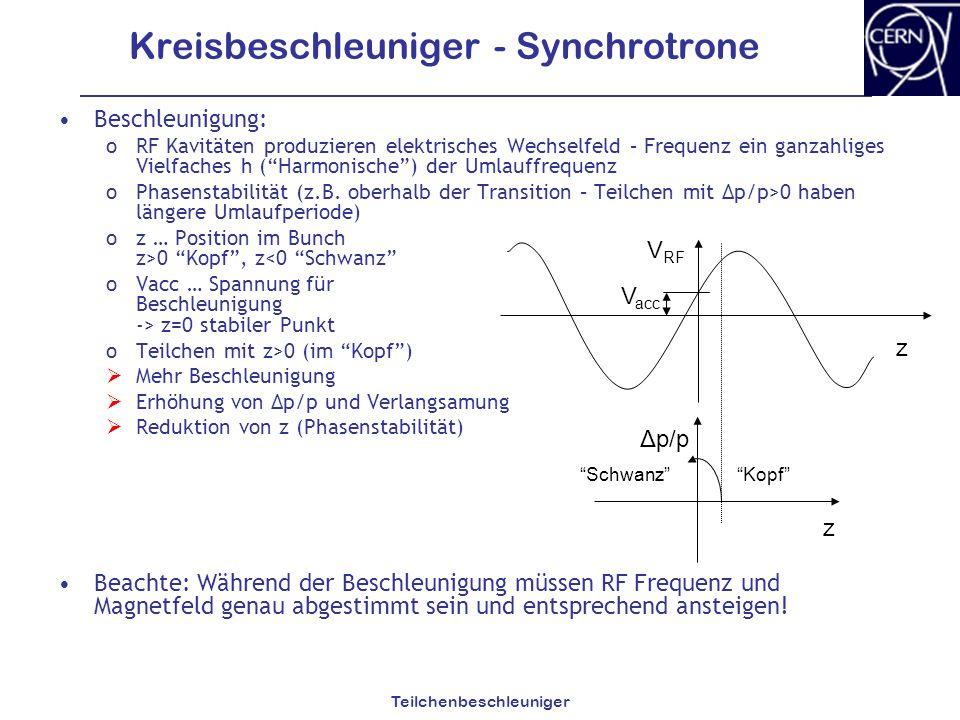 Kreisbeschleuniger - Synchrotrone