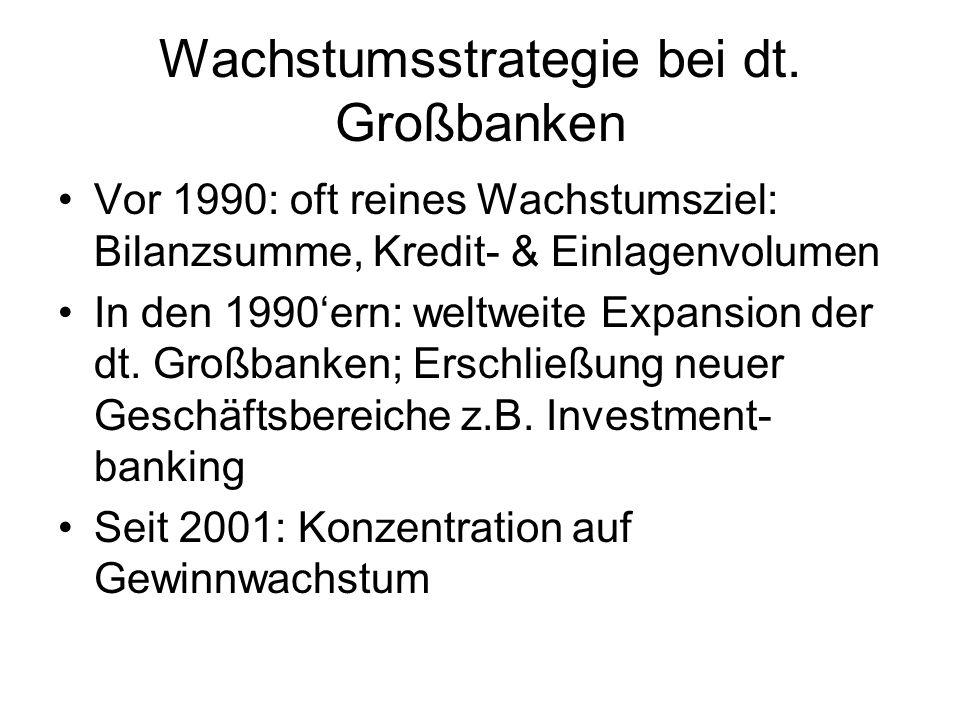 Wachstumsstrategie bei dt. Großbanken