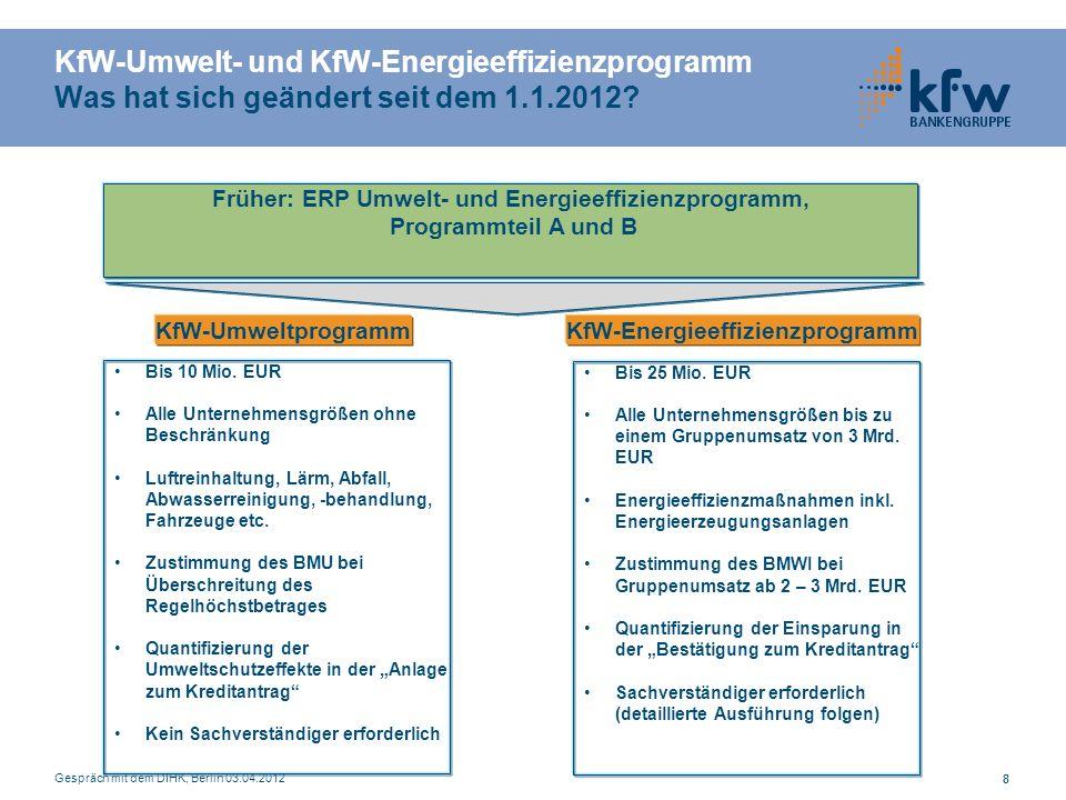 KfW-Umwelt- und KfW-Energieeffizienzprogramm Was hat sich geändert seit dem 1.1.2012