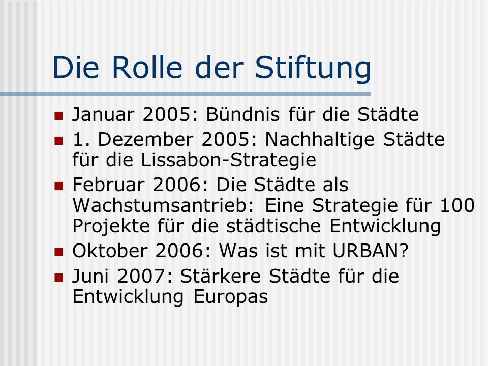 Die Rolle der Stiftung Januar 2005: Bündnis für die Städte