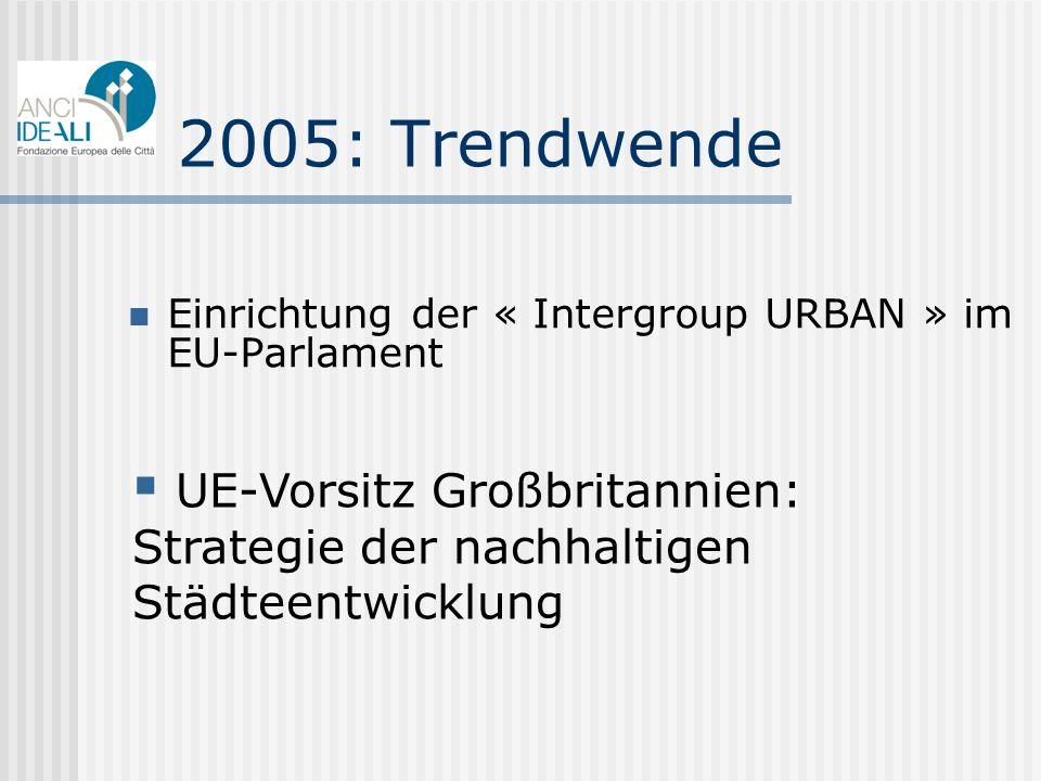 2005: Trendwende Einrichtung der « Intergroup URBAN » im EU-Parlament
