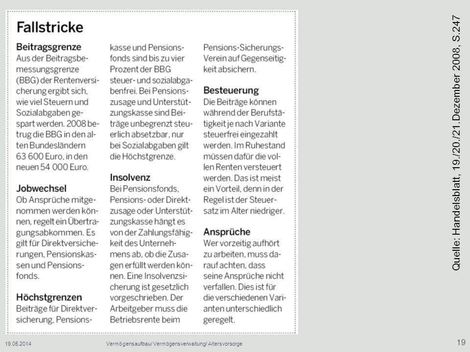 Quelle: Handelsblatt, 19./20./21.Dezember 2008, S.247