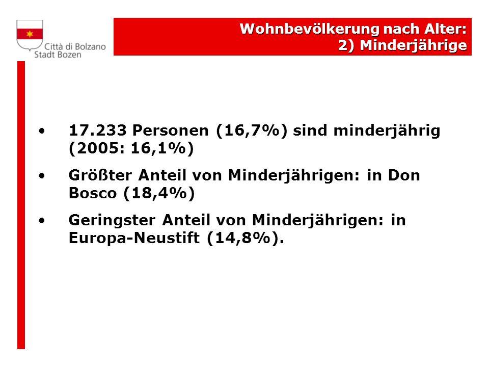 17.233 Personen (16,7%) sind minderjährig (2005: 16,1%)