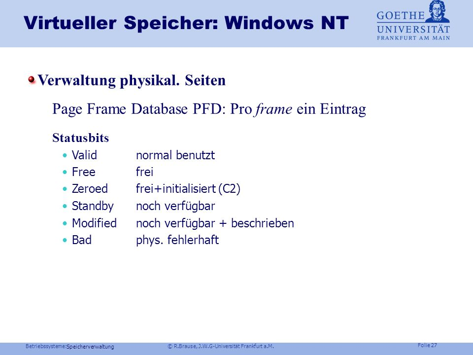 Virtueller Speicher: Windows NT