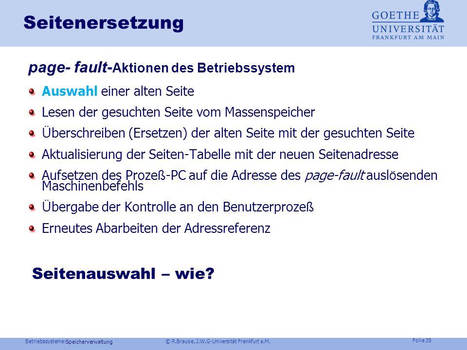 Seitenersetzung page- fault-Aktionen des Betriebssystem