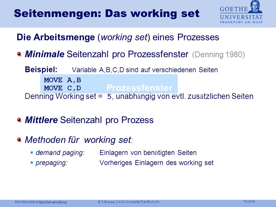 Seitenmengen: Das working set