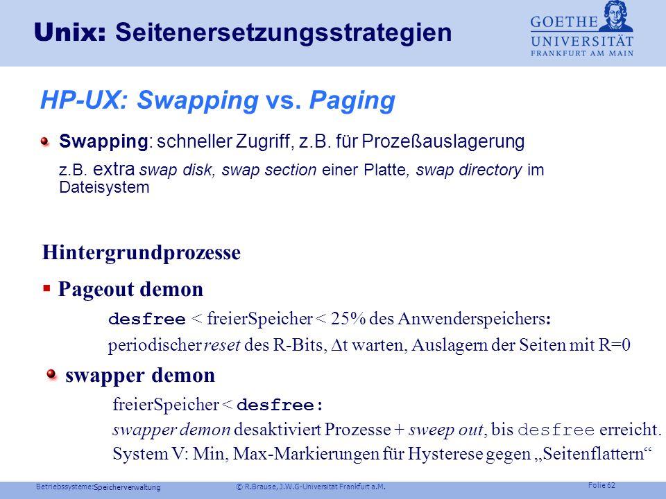 Unix: Seitenersetzungsstrategien