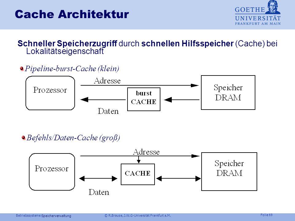 Cache Architektur Schneller Speicherzugriff durch schnellen Hilfsspeicher (Cache) bei Lokalitätseigenschaft.