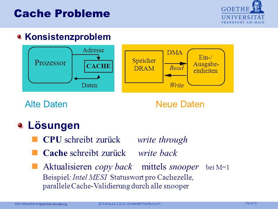 Cache Probleme Lösungen Konsistenzproblem Alte Daten Neue Daten
