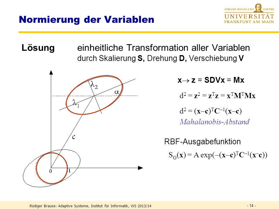 Normierung der Variablen