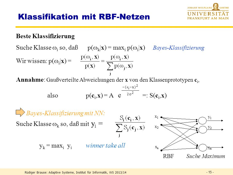 Klassifikation mit RBF-Netzen