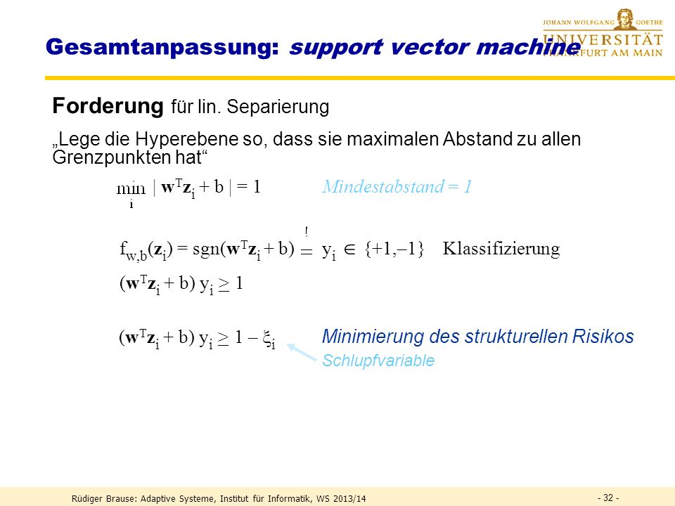 Gesamtanpassung: support vector machine