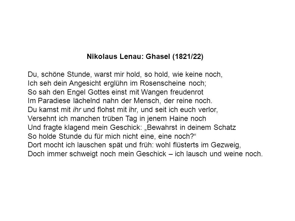 Nikolaus Lenau: Ghasel (1821/22)