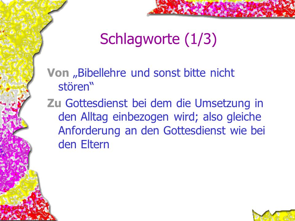 """Schlagworte (1/3) Von """"Bibellehre und sonst bitte nicht stören"""