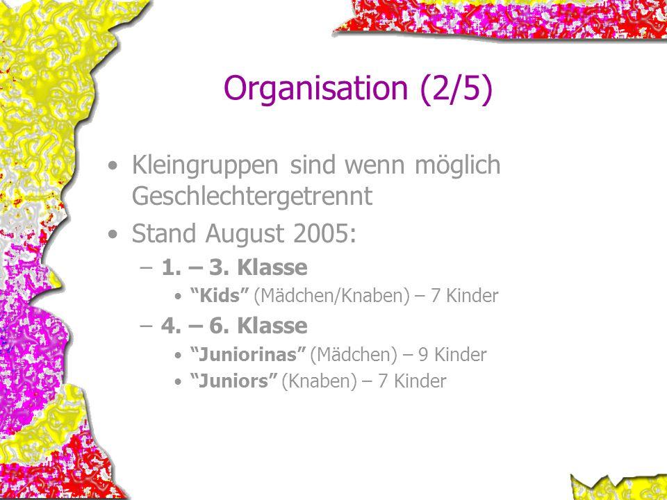 Organisation (2/5) Kleingruppen sind wenn möglich Geschlechtergetrennt