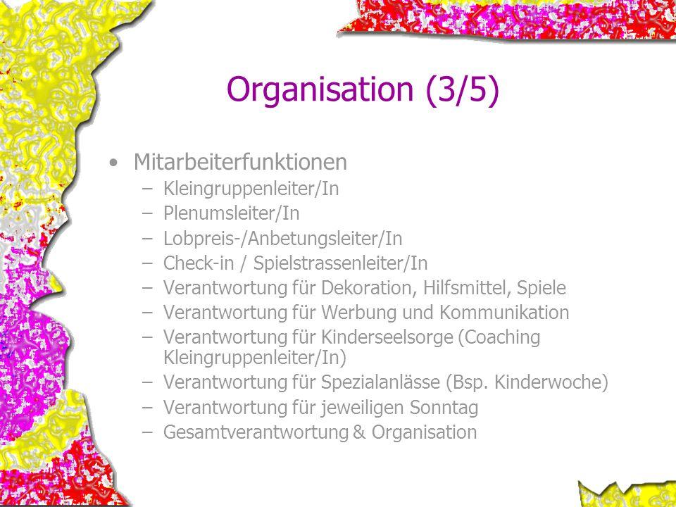 Organisation (3/5) Mitarbeiterfunktionen Kleingruppenleiter/In