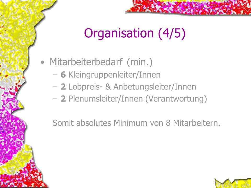 Organisation (4/5) Mitarbeiterbedarf (min.) 6 Kleingruppenleiter/Innen