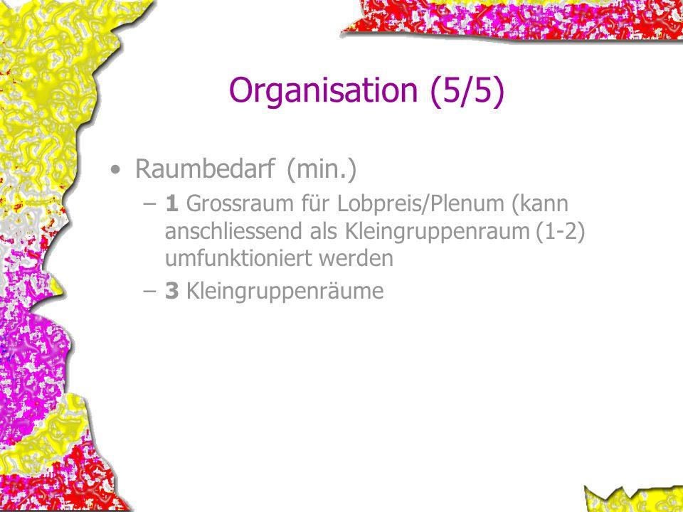 Organisation (5/5) Raumbedarf (min.)