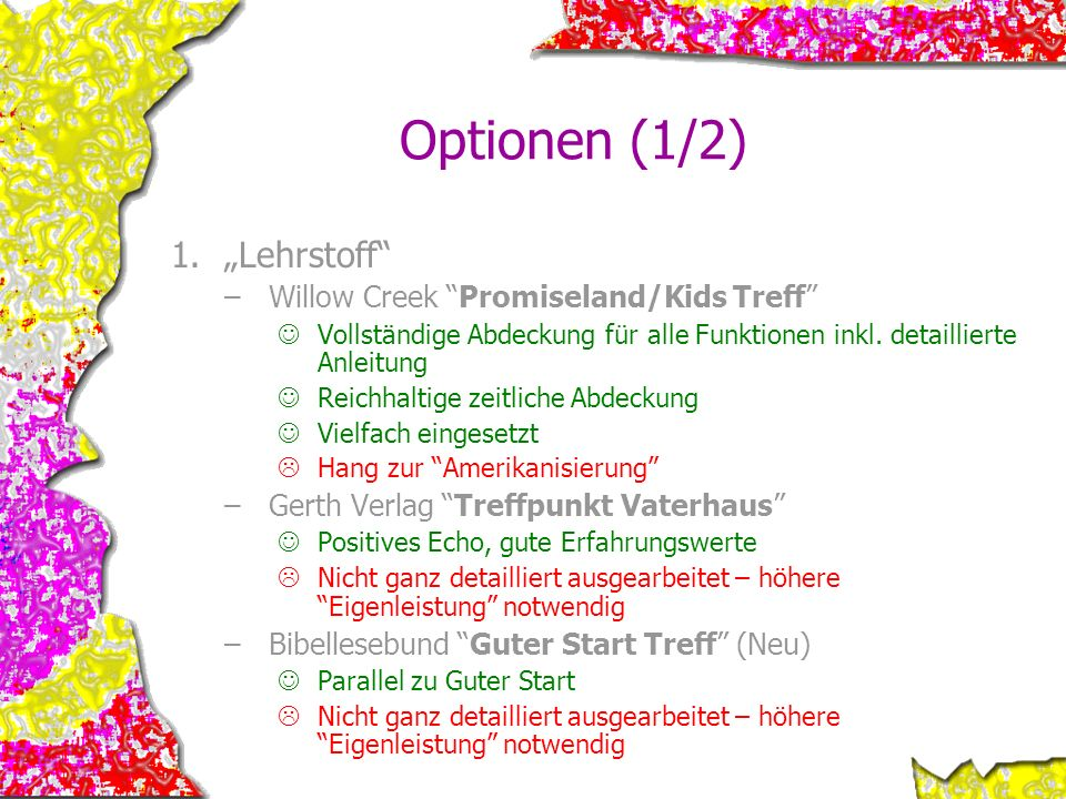 "Optionen (1/2) ""Lehrstoff Willow Creek Promiseland/Kids Treff"
