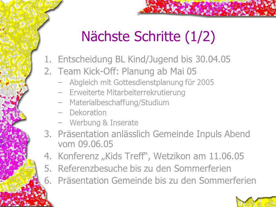 Nächste Schritte (1/2) Entscheidung BL Kind/Jugend bis 30.04.05