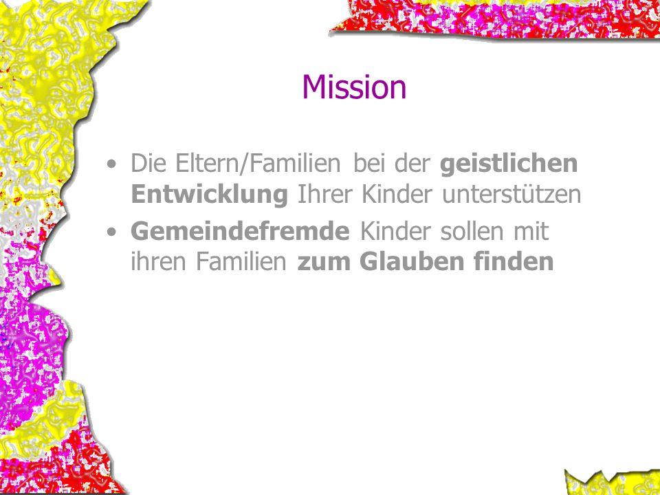 Mission Die Eltern/Familien bei der geistlichen Entwicklung Ihrer Kinder unterstützen.